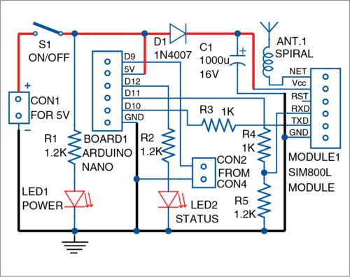 Circuit diagram of the GSM security switch
