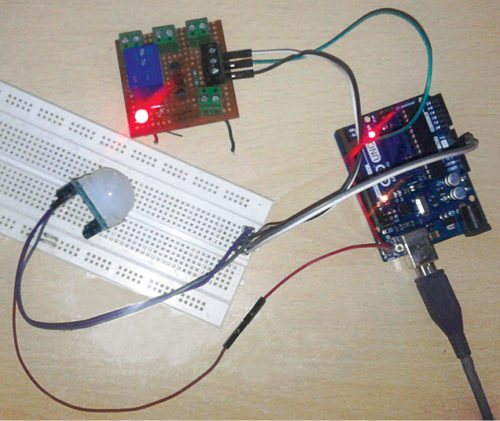 Author's prototype for IoT-Based Motion Detector Using Cayenne