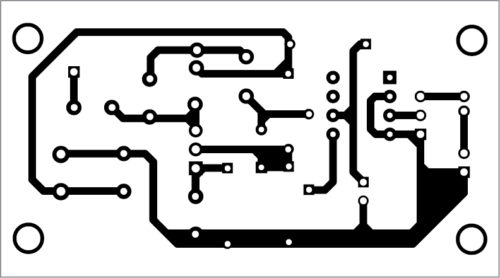 Fig. 2: Actual-size PCB layout for the simple FM transmitter