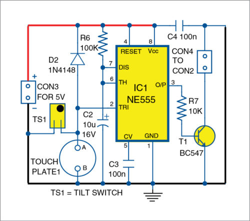 Circuit diagram of the touch/tilt sensor for vehicle anti-theft alert