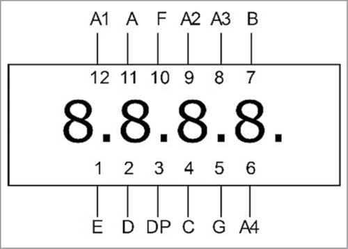 Pinout of the four-digit common-anode seven-segment display
