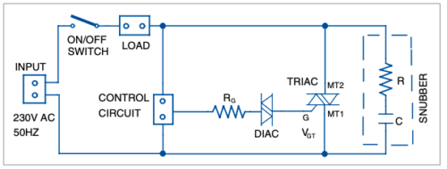 Typical triac switching application circuit
