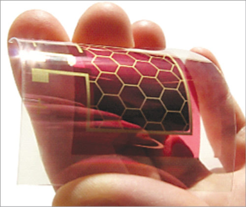 Finished ITO-free, transparent organic solar cell