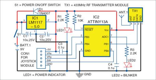 Circuit diagram of the Joystick Controlled Robot transmitter