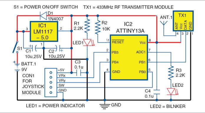 Joystick Controlled Robot Transmitter Circuit