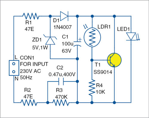 Circuit diagram of the nifty night lamp