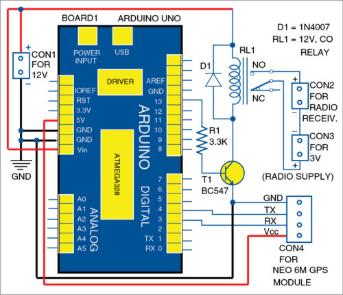 Circuit diagram of the GPS-based timer