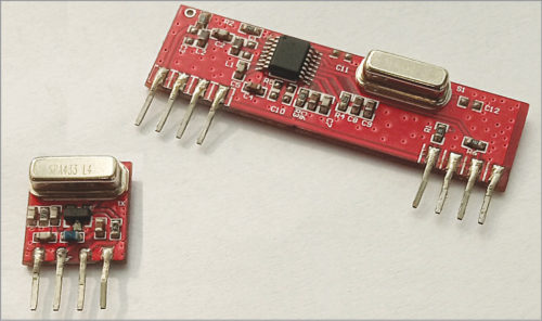 433MHz RF transmitter (left) and receiver (right) modules