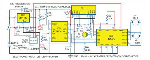 Circuit diagram of the Joystick Controlled Robot receiver