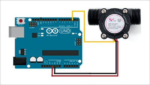 Analogue flow sensor connected to Arduino