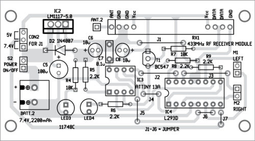 Components layout for the receiver PCB