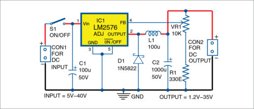 Circuit diagram of the breadboard power supply