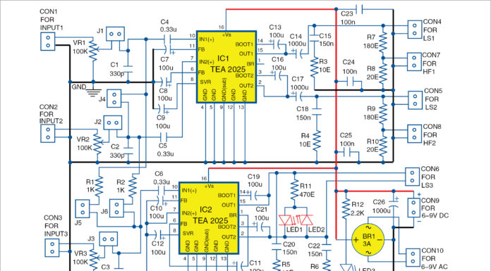 Circuit diagram for Three-Channel Audio Amplifier