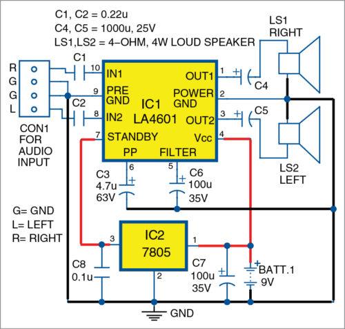 Circuit diagram of the stereo audio amplifier using LA4601