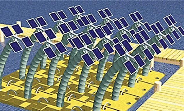 Fixing arrangement of solar panel with SunBOT stem