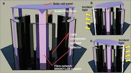 Alternative arrangement of heliotropic solar panel supported by composite beam