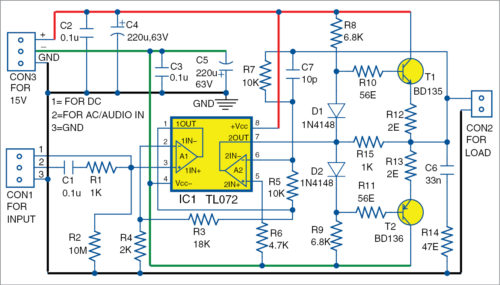 Circuit diagram of the universal AC/DC booster, audio amplifier and line driver