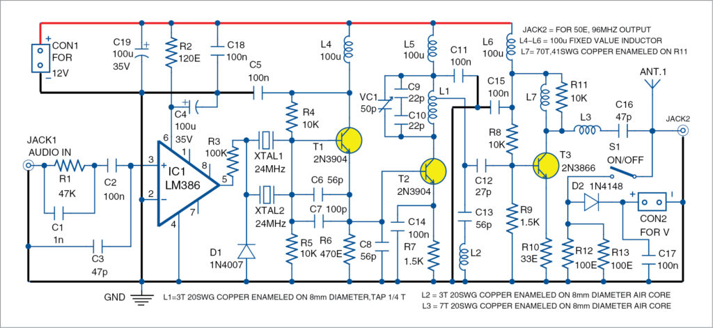 Circuit diagram of the Crystal-Locked FM Transmitter