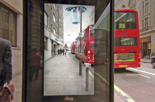Pepsi's AR advertisement turns a bus stop wall in London into a fake window
