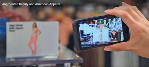 A customer scans a product using AR, inside a retail store