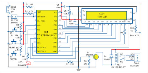 Circuit diagram of the password locker