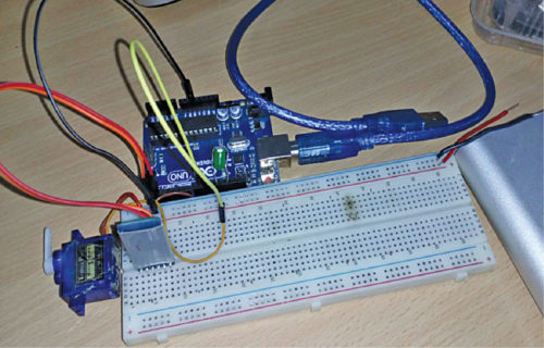 Smart Lock System Prototype Author's prototype wired on breadboard