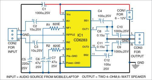 Circuit diagram of the stereo amplifier
