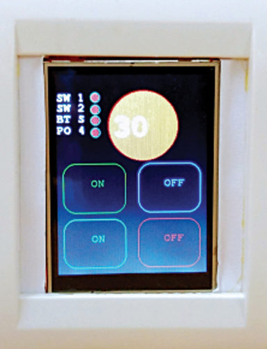 Touch control panel switchboard showing 30°C room temperature
