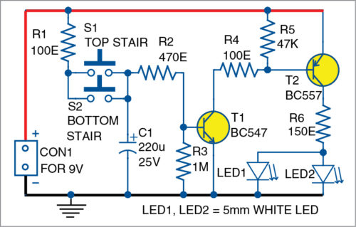 Circuit diagram of automatic staircase light
