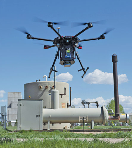 A drone sniffs for methane leaks
