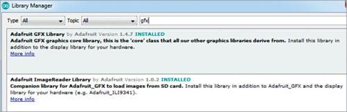 Installing Adafruit GFX library