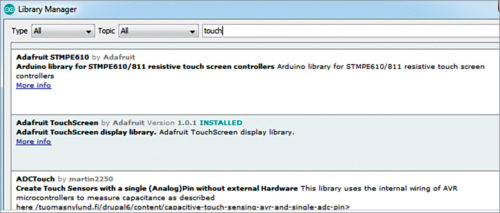 Installing TouchScreen library