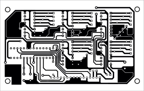 Actual-size PCB layout for the port expander