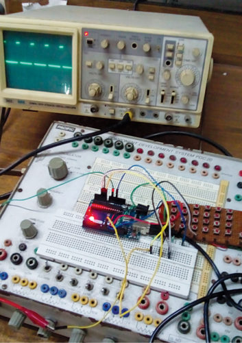 Author's prototype for Arduino based square wave generator