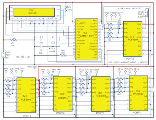 Circuit diagram of ATmega328 I/O port expander