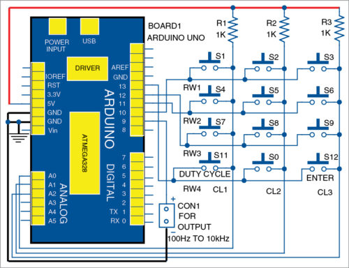 Circuit diagram of Arduino based square wave generator