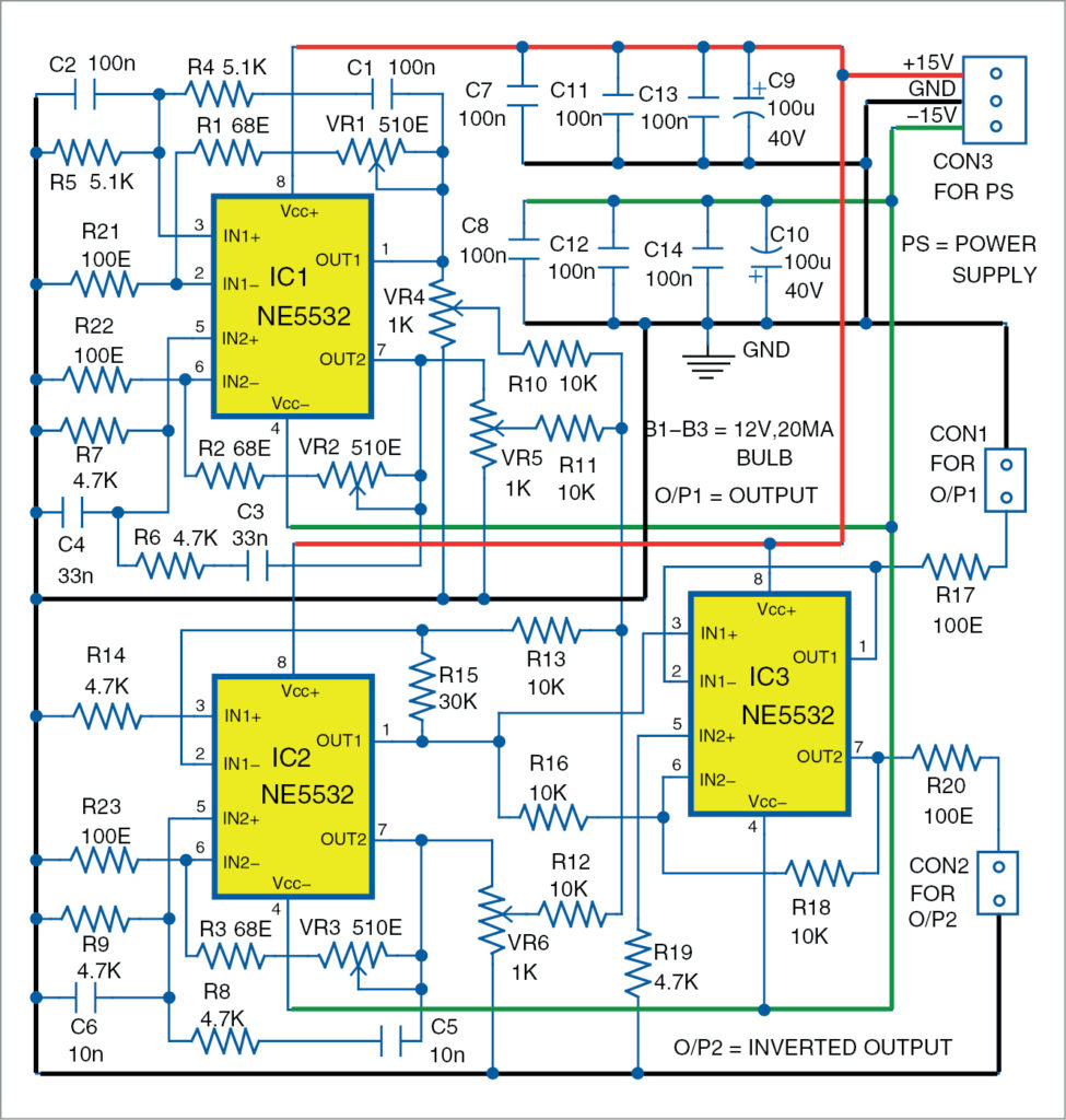 Circuit diagram of triple sine wave generator