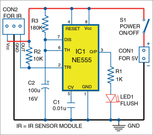 Circuit diagram of automatic hand-wash timer