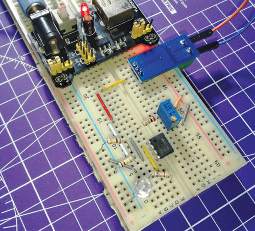 Author's prototype wired on breadboard