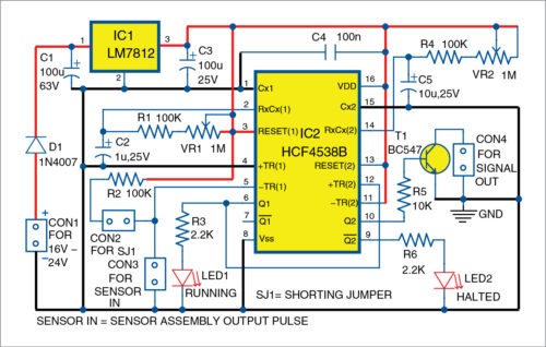 Circuit diagram of conveyor jam detector