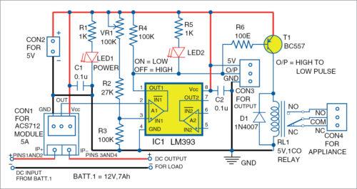 Circuit diagram of the overcurrent fault detector
