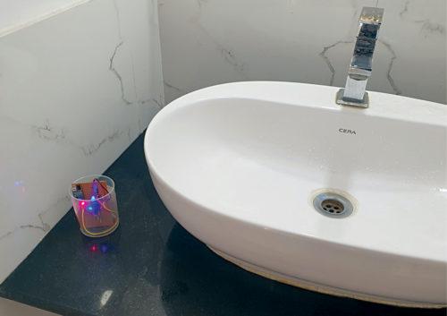 Prototype kept near the washbasin during hand-wash