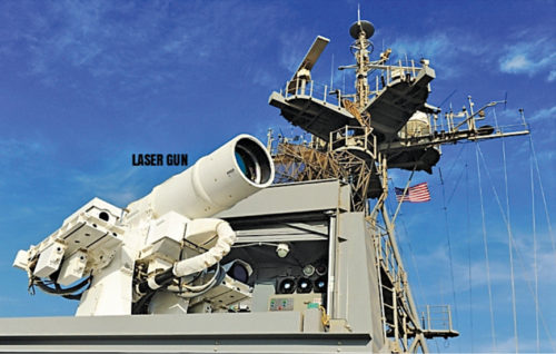 Laser gun fitted in a destroyer