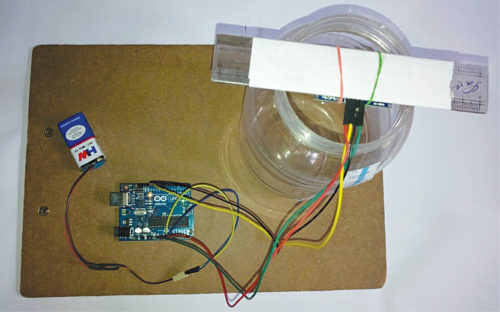 Authors' prototype of Ultrasonic Liquid Level Monitoring System project
