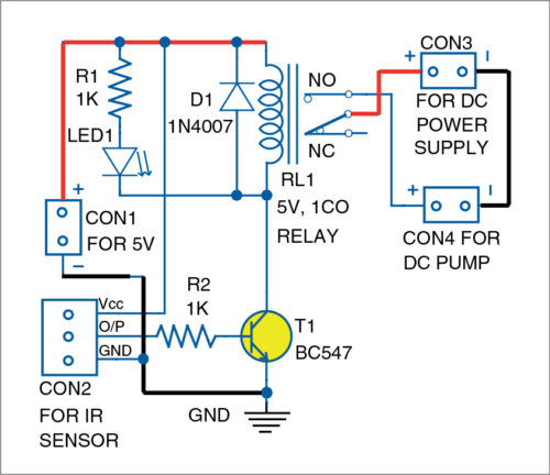Circuit diagram of the IR based automatic hand sanitiser dispenser