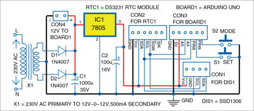 Circuit diagram of Arduino based real-time clock (Pins A4, A5, 5V of Board1)