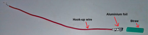 Aluminium foil on the hook-up wire