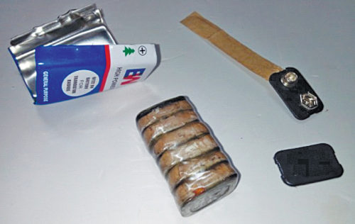 Dismantled parts of 9V battery