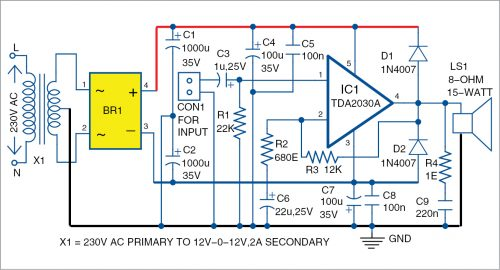 Circuit diagram of the audio amplifier using TDA2030A