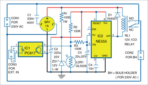 Circuit diagram of the smart 230V AC bulb holder